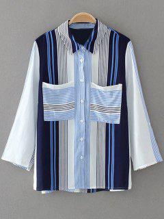 Chemise Rayée à Manches Longues Avec Poches - Bleu S