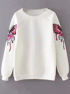 Sweat-shirt Large Brodé De Papillon - Blanc M
