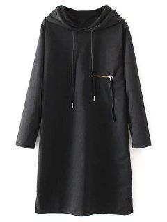 Hooded Side Slit Casual Dress - Black M