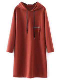 Robe Longue à Capuche Fendue Sur Le Côté - Rouille M