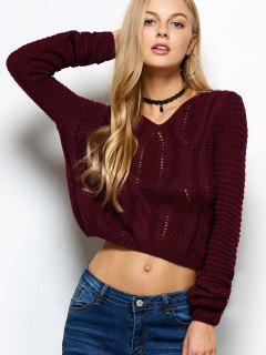 Open Cable Knit Crop Sweater - Burgundy