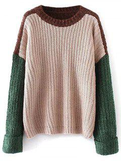 Oversized Color Block Chunky Sweater - Apricot