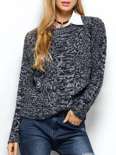 Heather Cable Knit Sweater - Purplish Blue