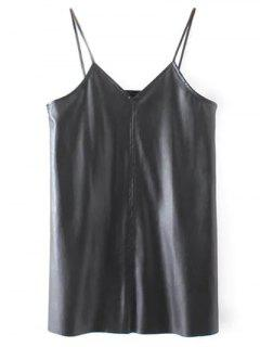 PU Leather Cami Mini Dress - Black L