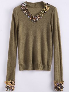 V Neck Sequins Sweater - Camel