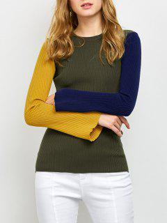 Contrast Bell Sleeve Ribbed Sweater - Army Green