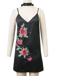 Cami Rose Embroidered A-Line Dress - Black M
