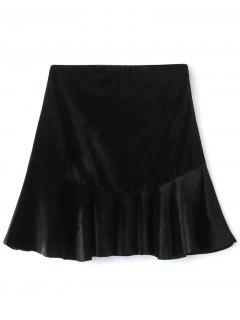 Flounced Velvet A-Line Skirt - Black L