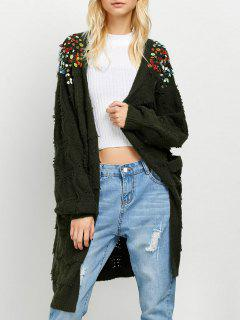 Longline Sequins Open Knit Cardigan - Army Green