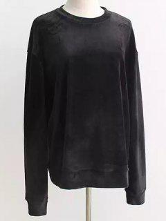 Oversized Velvet Sweatshirt - Black
