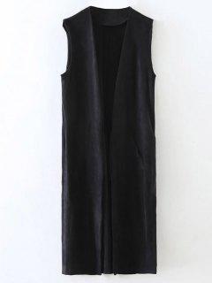 Longline Side Slit Suede Waistcoat - Black S