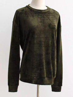 Oversized Velvet Sweatshirt - Blackish Green