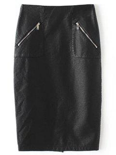 PU Leather Pencil Skirt - Black M