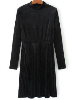 Long Sleeve Vintage Velvet Pleated Dress - Black M