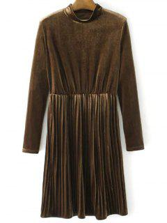 Long Sleeve Vintage Velvet Pleated Dress - Brown L