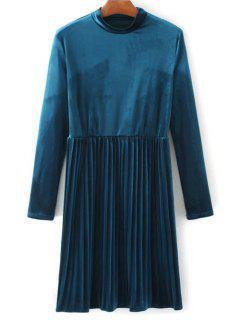 Long Sleeve Vintage Velvet Pleated Dress - Blue M