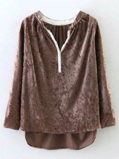 Oversized High-Low Velvet Blouse - Light Brown M