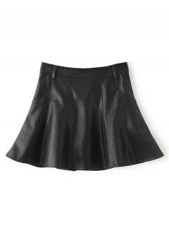 A Line PU Leather Mini Culotte Skirt - Black S