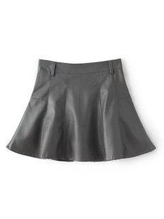 Una Línea De Cuero De La PU Mini Falda Culotte - Gris S