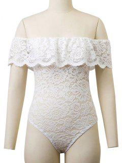 Flounced Off The Shoulder Lace Bodysuit - White L