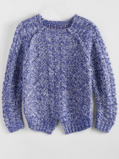Pullover Col Rond Manchees Raglan - Bleu