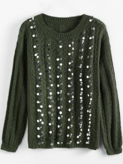 Crew Neck Sequins Sweater - Army Green