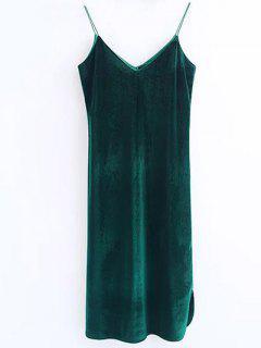 Robe En Velours à Longueur Moyen à Bretelle - Vert Foncé S