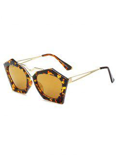 Irregular Mirrored Leopard Sunglasses - Golden
