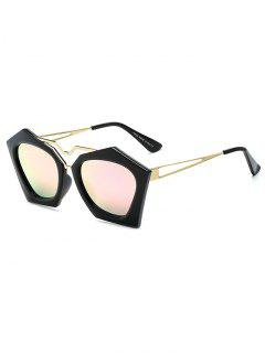 Irregular Mirrored Sunglasses - Pink