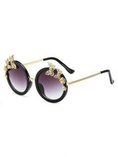 Rhinestone Butterfly Oval Sunglasses - Black