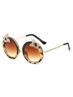 Butterfly Flecky Panel Oval Sunglasses - Black