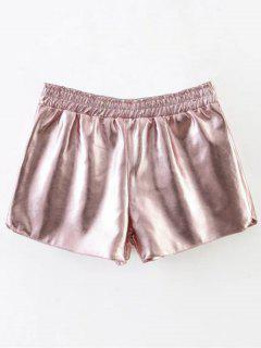 Elastic Waist PU Leather Shorts - Pink S