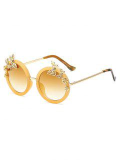 Butterfly Oval Mirrored Sunglasses - Golden