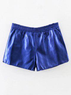 Short élastique En Cuir PU - Bleu Saphir S