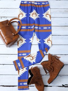 Skinny Stretchy Print Leggings - Blue S