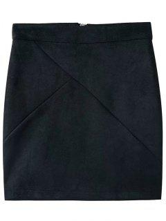 Fake Suede Mini Skirt - Black S