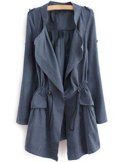 Epaulet Drawstring Coat - Blue Gray L