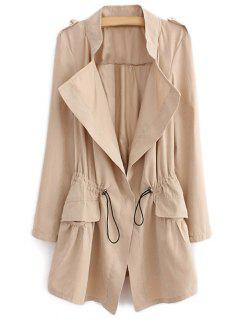 Epaulet Drawstring Coat - Light Khaki M