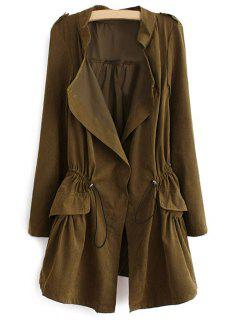 Epaulet Drawstring Coat - Army Green Xl