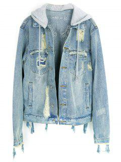 Embroidered Distressed Denim Jacket - Light Blue Xs