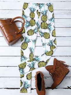 Pineapple Print Stretchy Skinny Leggings - White Xl