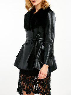 Faux Fur Collar Faux Leather Coat - Black M