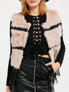 Fringe Rabbit Hair Waistcoat - Pink