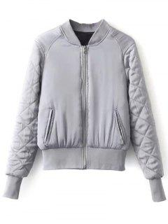 Stand Neck Quilted Jacket - Gray S