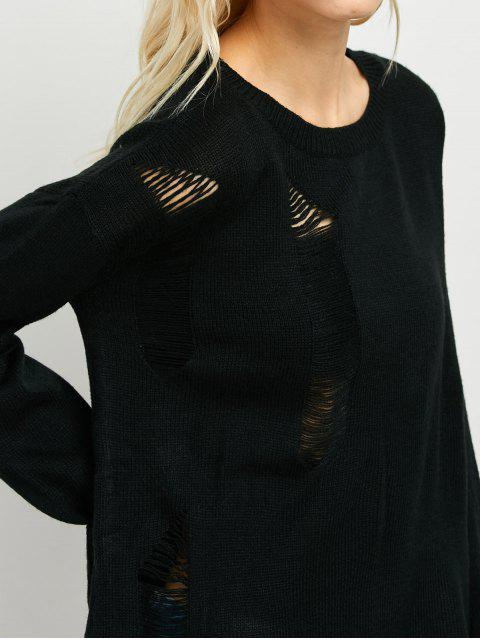 shops Oversized High Low Ripped Sweater - BLACK ONE SIZE Mobile