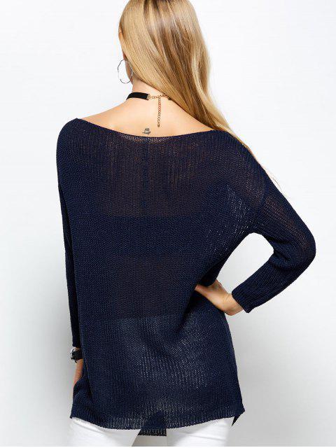 best Slash Neck Open Stitch Sweater - BLUE ONE SIZE Mobile