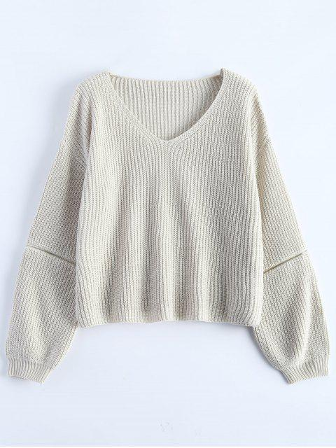 sale Zipper Cutout V Neck Sweater - OFF-WHITE ONE SIZE Mobile