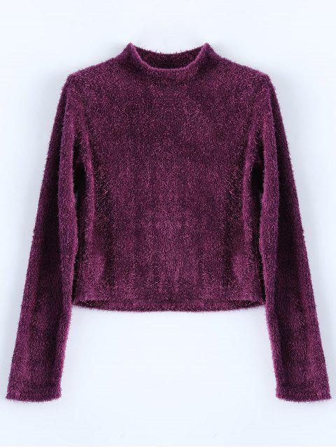 outfit High Neck Fuzzy Cropped T-Shirt - PURPLISH RED XL Mobile