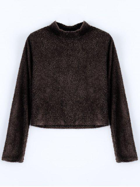 trendy High Neck Fuzzy Cropped T-Shirt - COFFEE L Mobile