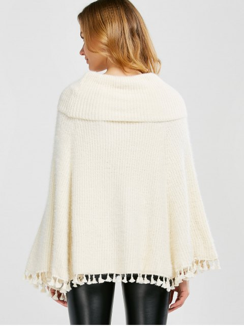 new Cowl Neck Wool Poncho - OFF-WHITE ONE SIZE Mobile